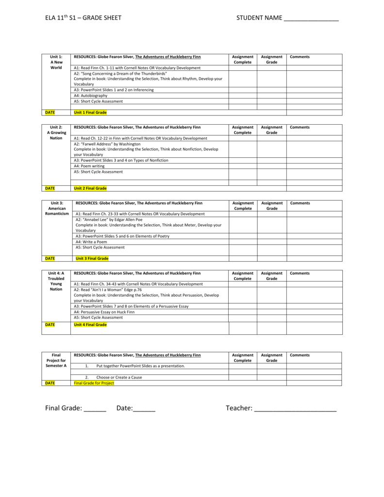 Grade Sheet 11A