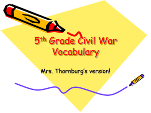 5th Grade Civil War Vocabulary