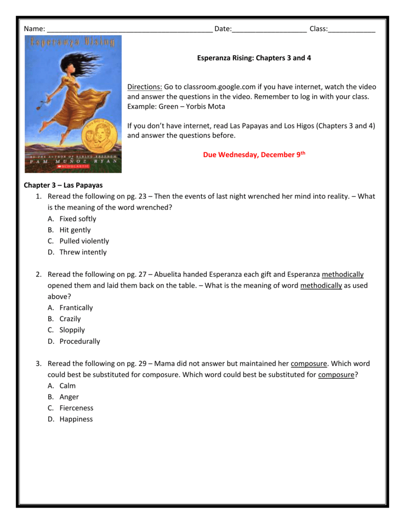 Uncategorized Esperanza Rising Worksheets name date class esperanza rising chapters 3 and 4