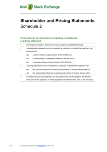 Schedule 2 - Shareholder and Pricing Statements for Main