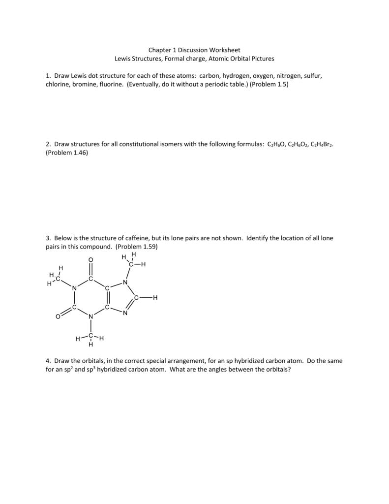 worksheet Formal Charge Worksheet chapter 1 discussion worksheet lewis structures formal charge