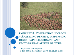 Concept 3: Population Ecology – Analyzing density, dispersion