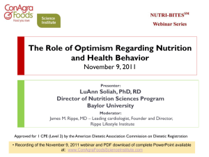 The Role of Optimism on Nutrition and Health Behaviors This