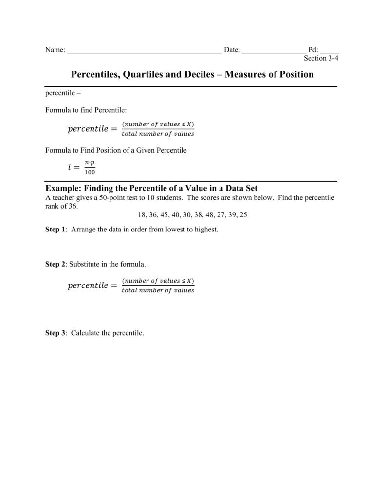 Percentiles, Quartiles and Deciles – Measures of Position