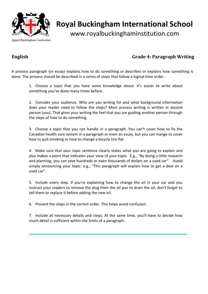 process paragraph grade class website