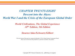 World War I and the Crisis of the European Global Order