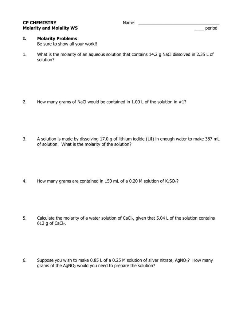 worksheet. Molarity Molality Worksheet. Grass Fedjp Worksheet Study Site