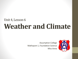 Unit 4, Lesson 6 Weather and Climate