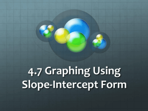 4.7 Graphing Using Slope Intercept Form