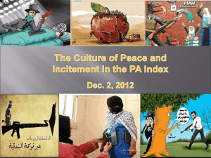 The Culture of Peace and Incitement in the PA Index