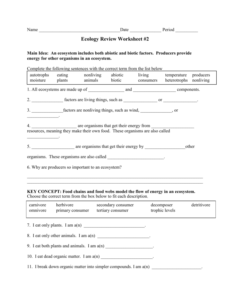 Ecology review worksheet 1 key