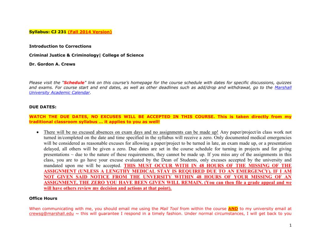 Marshall University Academic Calendar.Syllabus Cj 231 Fall 2014 Version Introduction To Corrections