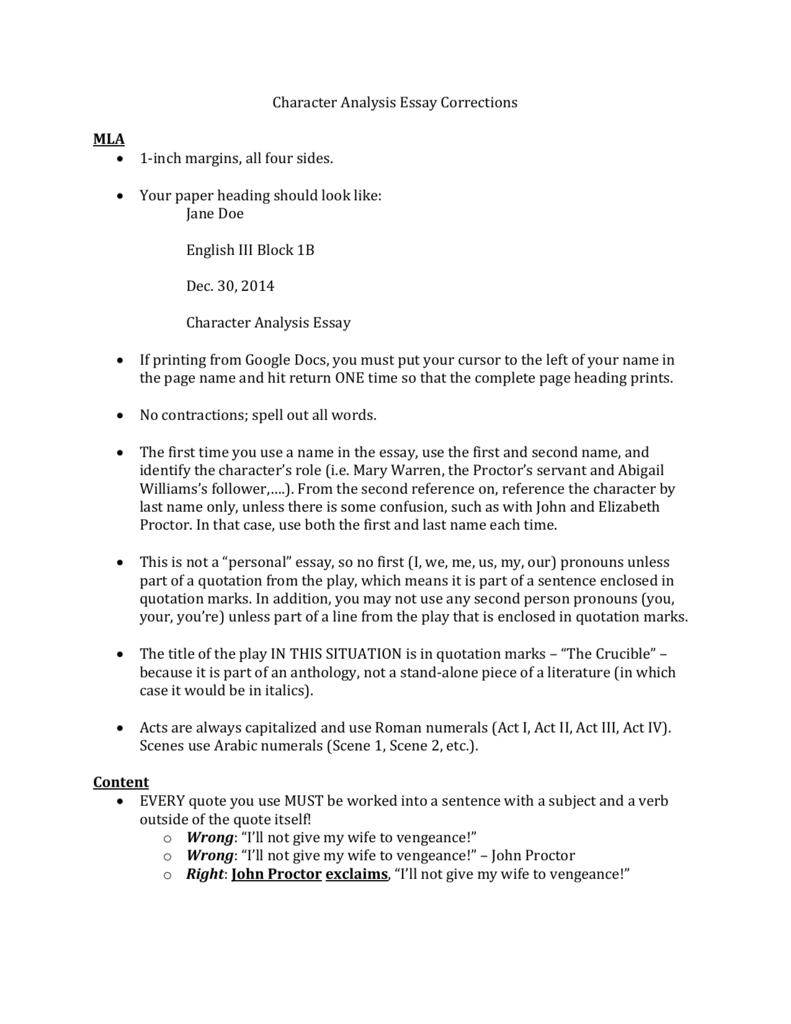 Essay format for college