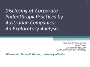 Disclosing of Corporate Philanthropy Practices by Australian