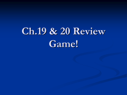 Ch19 & 20 Review
