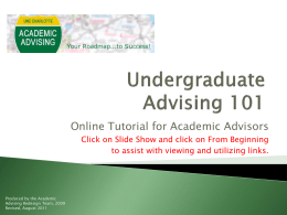Undergraduate Advising 101 - Office of Academic Affairs