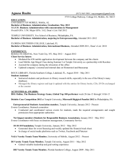 Resume: Rozite - University of Mobile