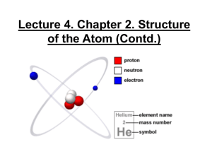 Lecture 4. Structure of the Atom (Contd.)