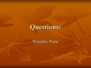 Questions Wheatley to Paine