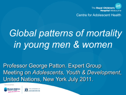 Global patterns of mortality in young people