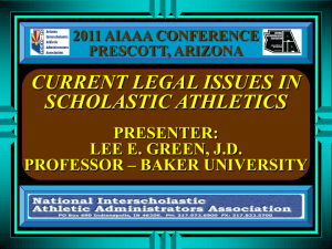 CURRENT LEGAL ISSUES IN ATHLETICS ADMINSTRATION