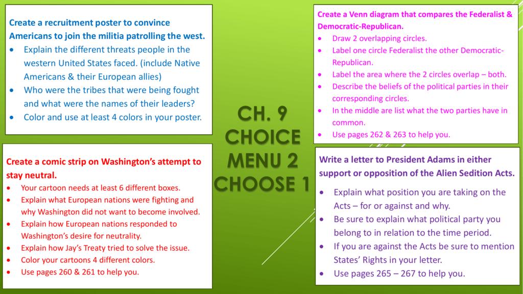 ch 9 choice menu 2 choose 1