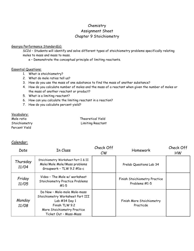 New Assign Sheet Stoichiometry