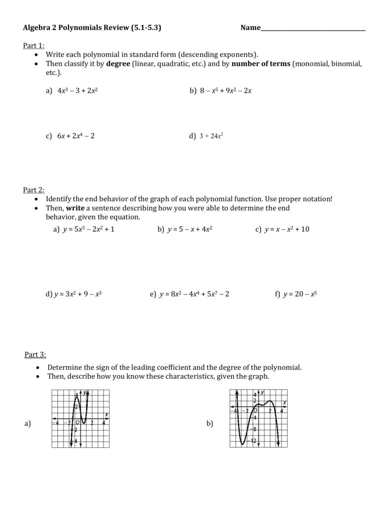 Algebra 2 polynomials review 51 falaconquin