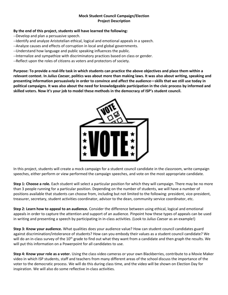 Mock Student Council Campaign Handout 1 Anna Drake – Student Council Speech Examples