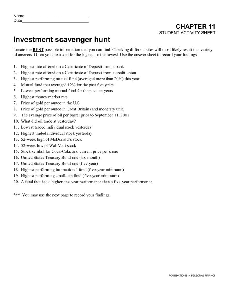 Investment Scavenger Hunt