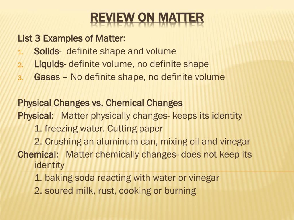 Matter Unit Study Guide Answers