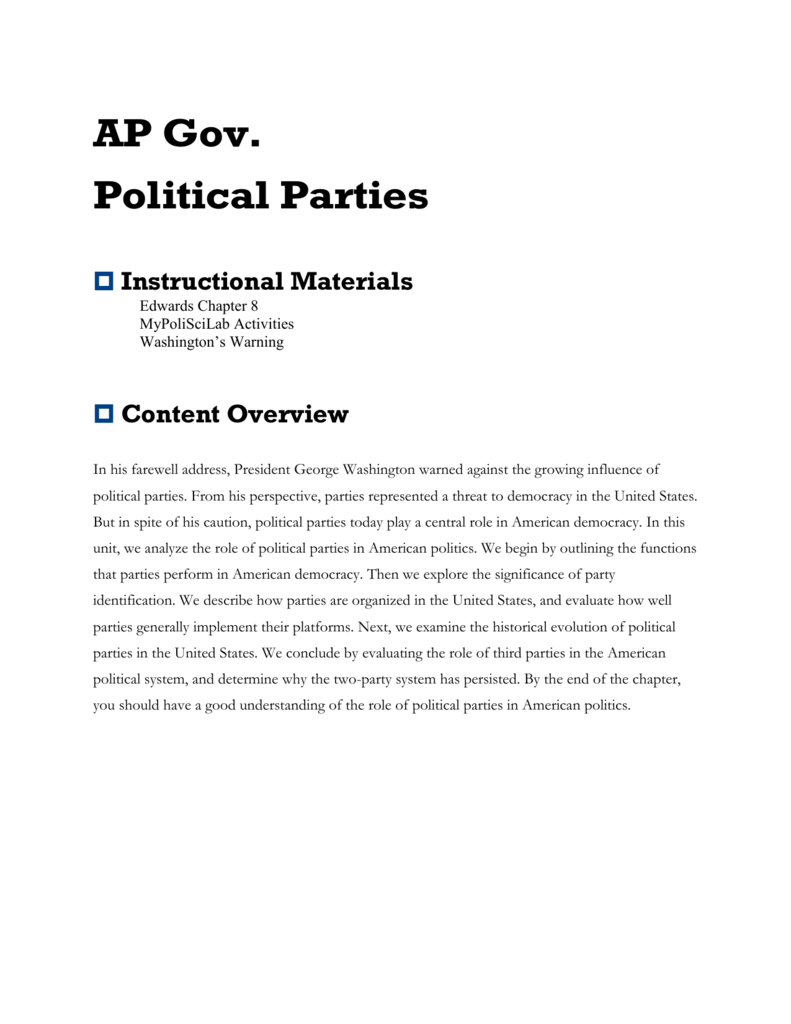 the role of third parties in american politics Effects of third parties in the us understand how third parties affect the political process the student examines the role of political parties in the.