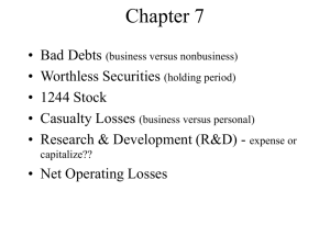 Business and Nonbusiness Bad Debt