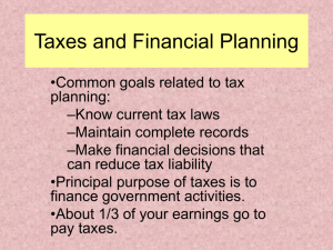 Taxes and Financial Planning
