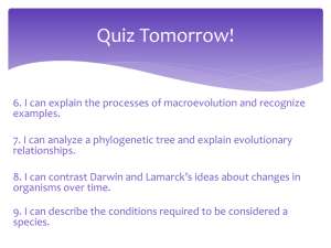Darwin vs Lamarck and Speciation