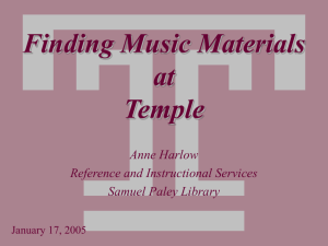 Finding Music Materials at Temple (Powerpoint Tutorial)