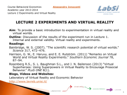 Lecture 2 experiments and Virtual reality Aim