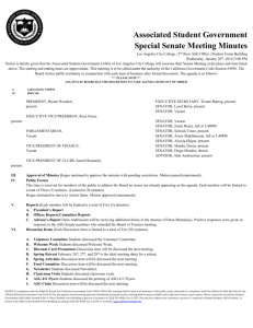 Associated Student Government Special Senate Meeting Minutes