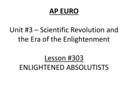 Lesson 303 - Enlightened Absolutists