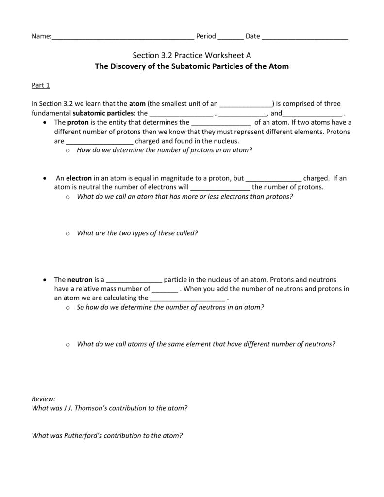 Workbooks number practice worksheets : Worksheet #600730: Atom Worksheet – Free Worksheets Library ...