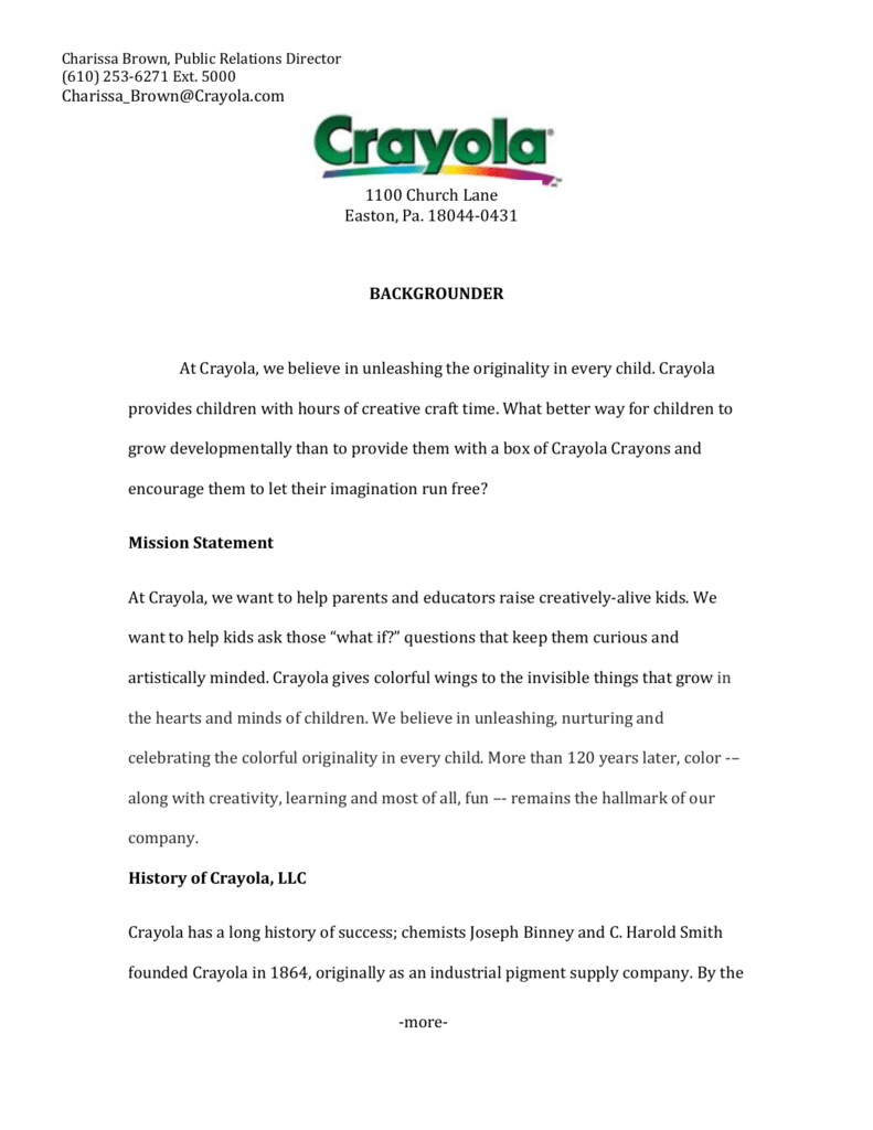 18044 0431 BACKGROUNDER At Crayola We Believe In Unleashing The Originality Every Child Provides Children With