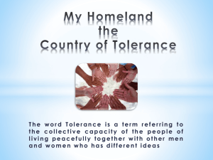 My Homeland the Country of Tolerance