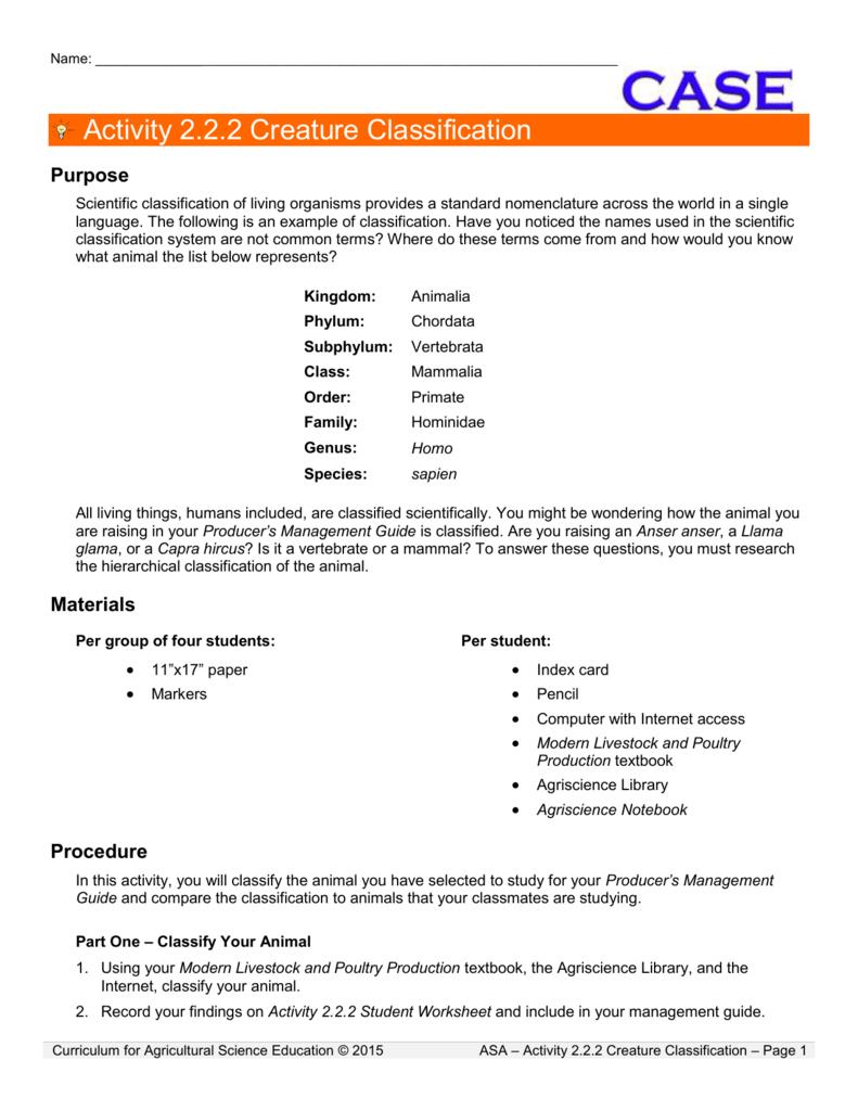 Activity 222 Creature Classification