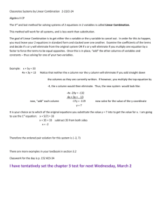 Classnotes Systems by Linear Combination 2-23/2