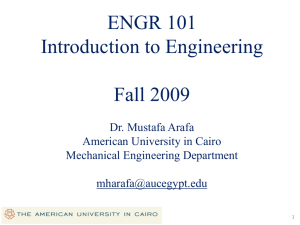 Introduction to Engineering - The American University in Cairo