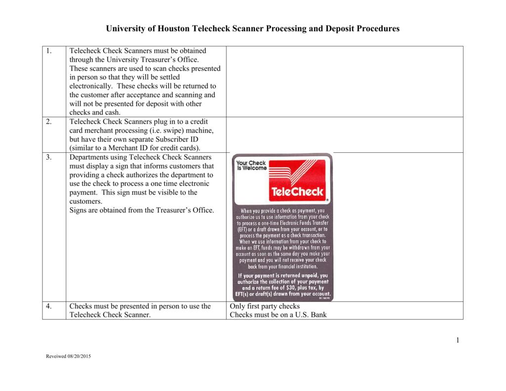 Telecheck Scanner Processing and Deposit Procedures (Finance)