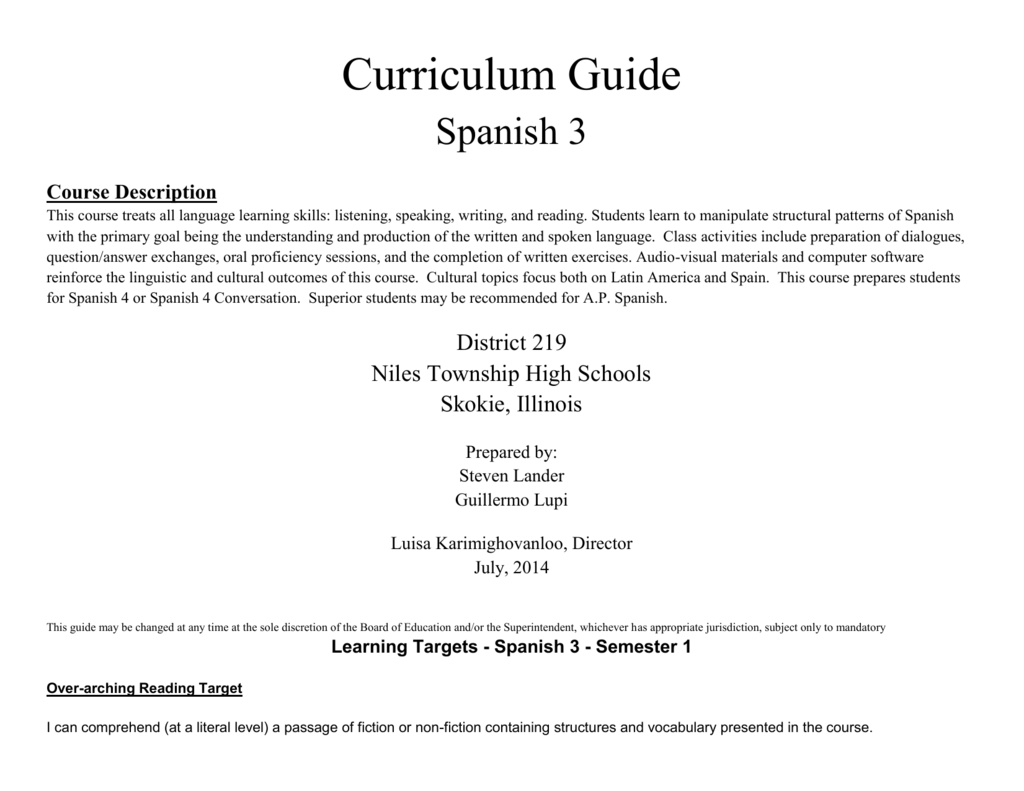 Workbooks practice workbook realidades 3 answers : Spanish 3 - Niles Township High School District 219