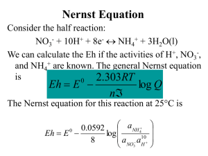 Nernst equation and Eh