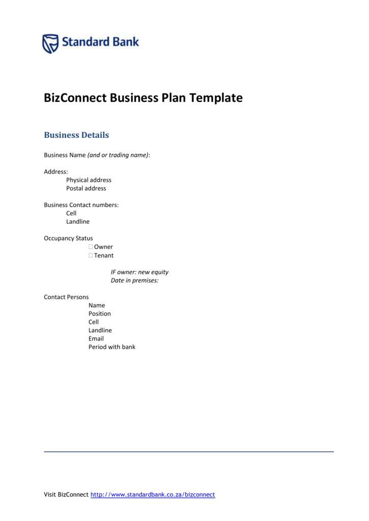 standard bank bizconnect business plan