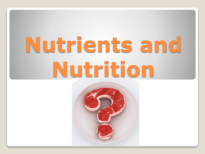 1 Nutrients and Nutrition PowerPoint